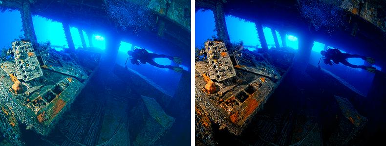 Edição de fotos embaixo d'água