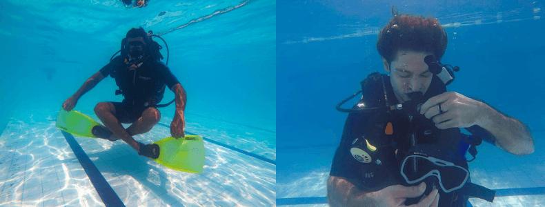 treino na piscona Curso Open Water